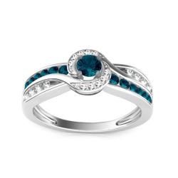 "Prabangus žiedas su 0,63ct mėlynais deimantais ""Blue Lagoon"""