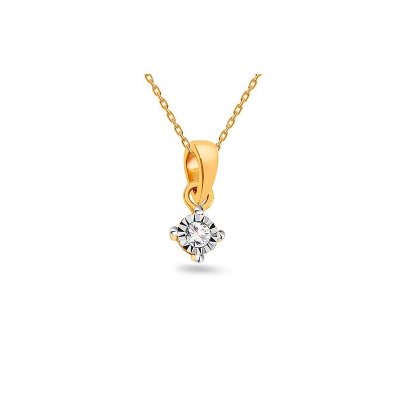 "Auksinis pakabukas su 0,020ct deimantu ""Mariya"""