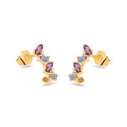 Auksiniai auskarai su brangakmeniais ir 0,020ct deimantai