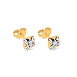 Auksiniai dvispalviai auskarai su 0.100ct deimantais
