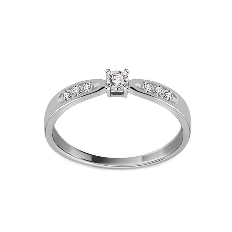 Sužadėtuvių balto aukso žiedas su 0,040ct deimantais