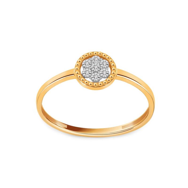 Auksinis dvispalvis žiedas su 0,020ct deimantais