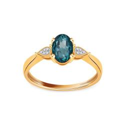 Auksinis dvispalvis žiedas su Londono mėlynuoju topozu ir 0,020ct deimantais