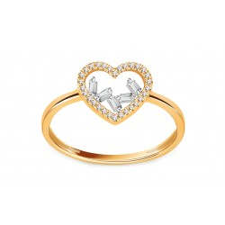 """Auksinis žiedas su 0,080ct deimantais """"Širdelė"""""""