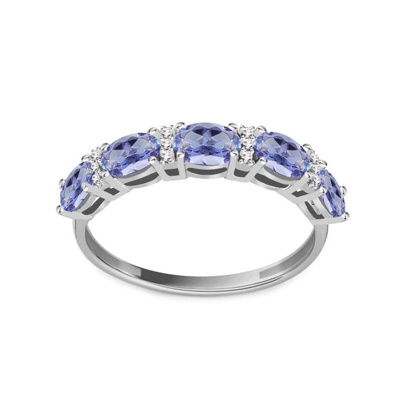 Balto aukso žiedas su Tanzanitais ir 0,030ct deimantais