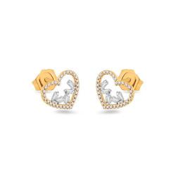 """Auksiniai auskarai su 0,150ct deimantais """"Širdelė"""""""