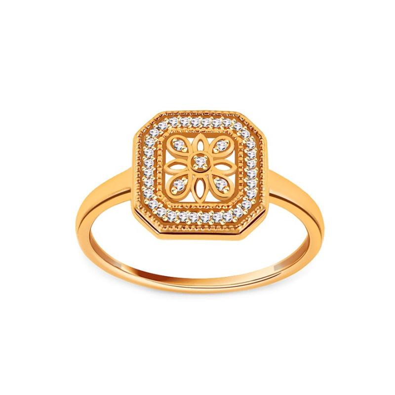 Auksinis žiedas su 0,080ct deimantais