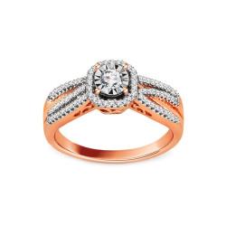 Raudono aukso žiedas su 0,320ct deimnatais