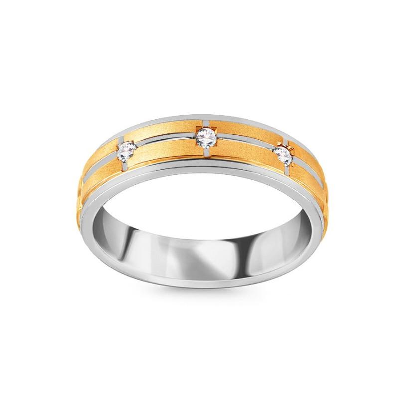 Auksinis dvispalvis žiedas su 0,110ct deimantais