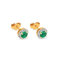 Auksiniai auskarai su smaragdais ir 0,060ct deimantais