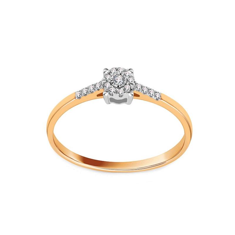 Auksinis sužadėtuvių žiedas su 0,060ct deimantais