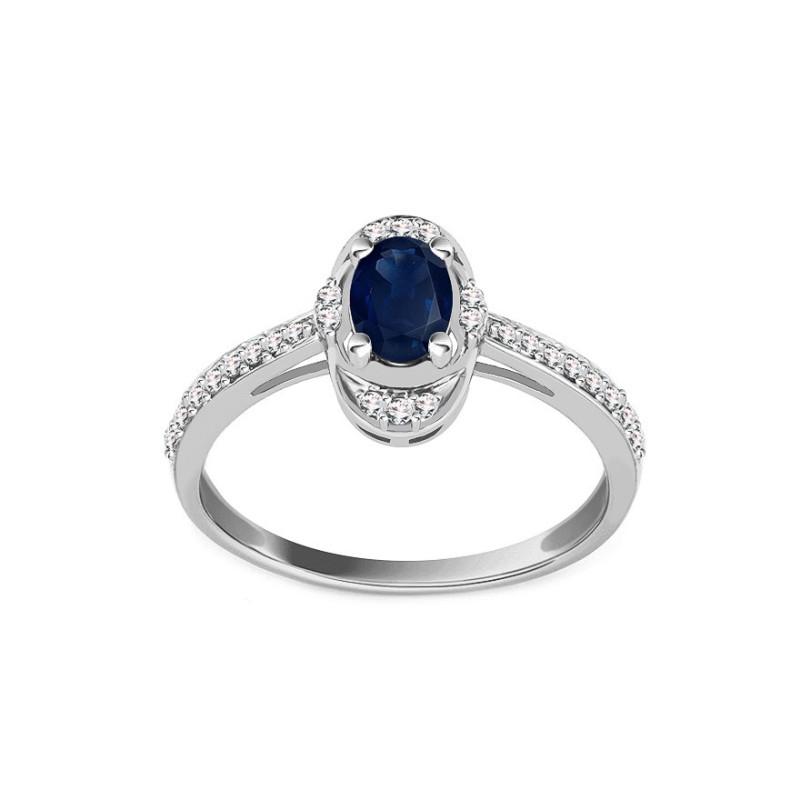 Balto aukso žiedas su Safyru ir 0,170ct deimantais