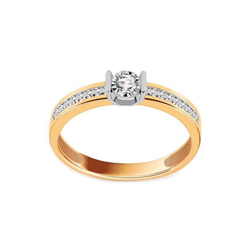 Auksinis sužadėtuvių žiedas su 0,080ct deimantais