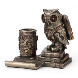 Steampunk pelėda - mobilaus telefono laikiklis, pieštukinė