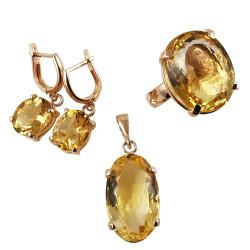 Auksinis pakabukas, auskarai ir žiedas su Citrinu