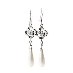 Sidabriniai kabantys auskarai su perlais ir cirkoniais