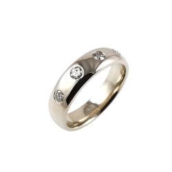 Balto aukso vyriškas žiedas su deimantais