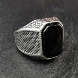 Sidabrinis žiedas su oniksu 20 mm