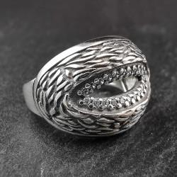 Sidabrinis žiedas su cirkoniais 18,2 mm
