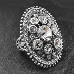 Sidabrinis žiedas su swarovski kristalais 17,5 mm