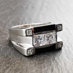 Sidabrinis žiedas su cirkoniu ir juoda emale 20 mm