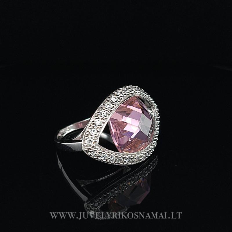 Sidabrinis žiedas su cirkoniais 19,2 mm