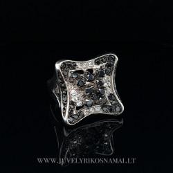 Sidabrinis žiedas su cirkoniais 17,2 mm
