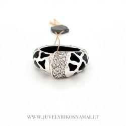 Sidabrinis žiedas su keramika ir cirkoniu 18,8 mm