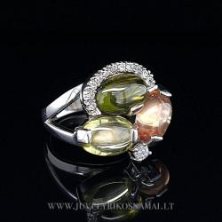 Sidabrinis žiedas su cirkoniais 19 mm