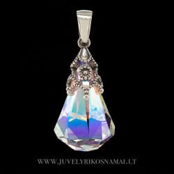 Sidabrinis pakabukas su swarovski kristalu