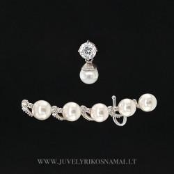 Sidabriniai auskarai per visą ausį su cirkoniu ir perlais
