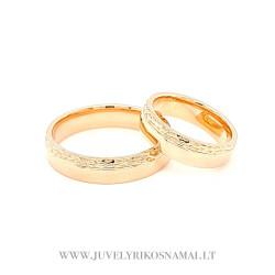 Raudono aukso graviruoti vestuviniai žiedai