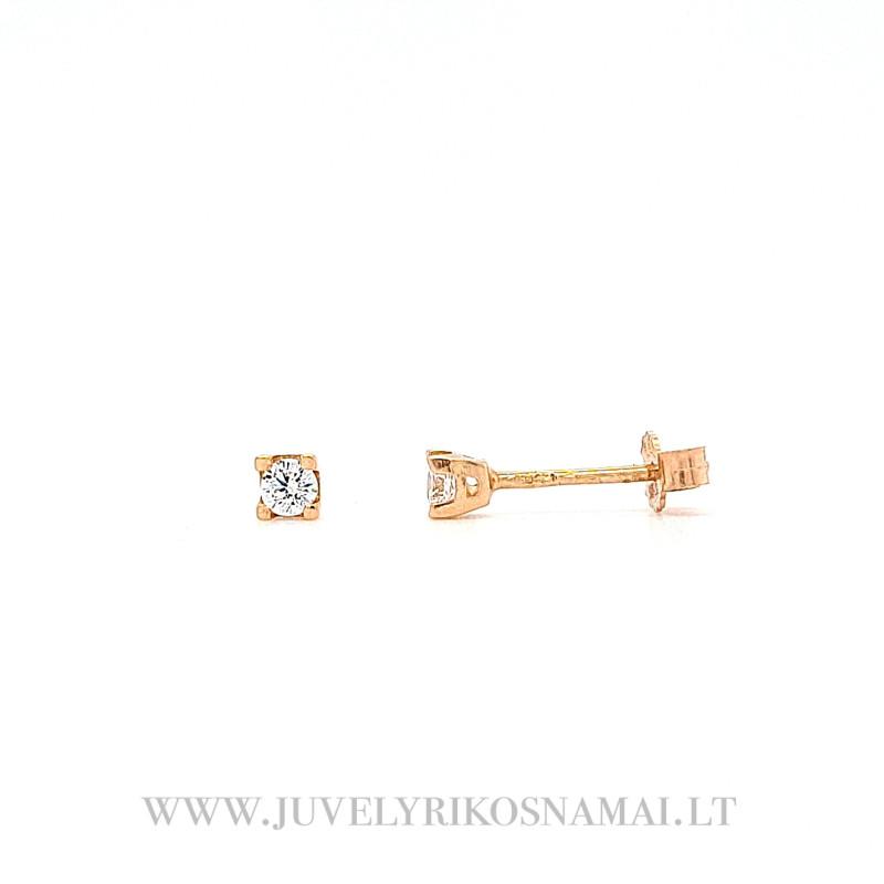 Auksiniai auskarai - vinukai su cirkoniu