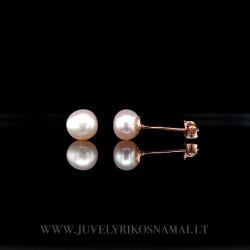 Auksiniai auskarai - vinukai su perlais