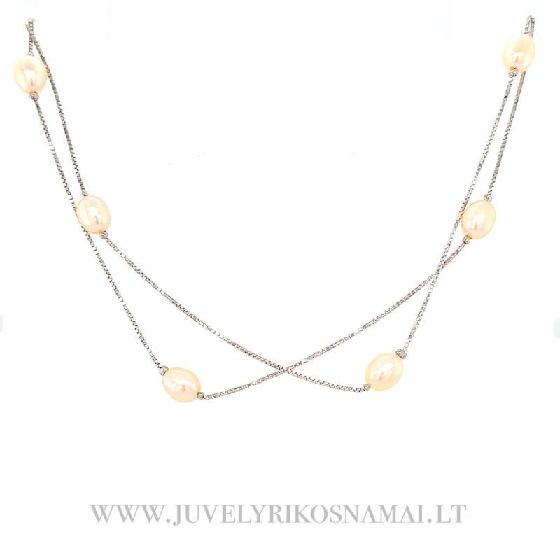 Sidabrinė kolje su perlais 41 - 45 cm