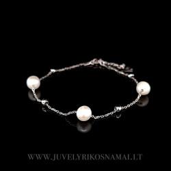 Sidabrinė apyrankė su perlais 17 - 20 cm