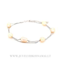 Sidabrinė apyrankė su perlais 17 - 20,5 cm